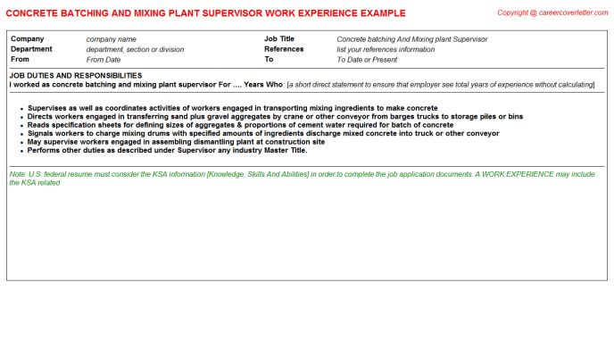 Concrete Batching And Mixing Plant Supervisor Job Title Docs