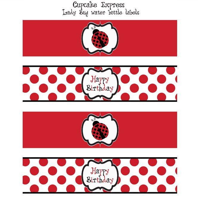 Lady Bug Printable Water Bottle Labels | Printables | Pinterest ...