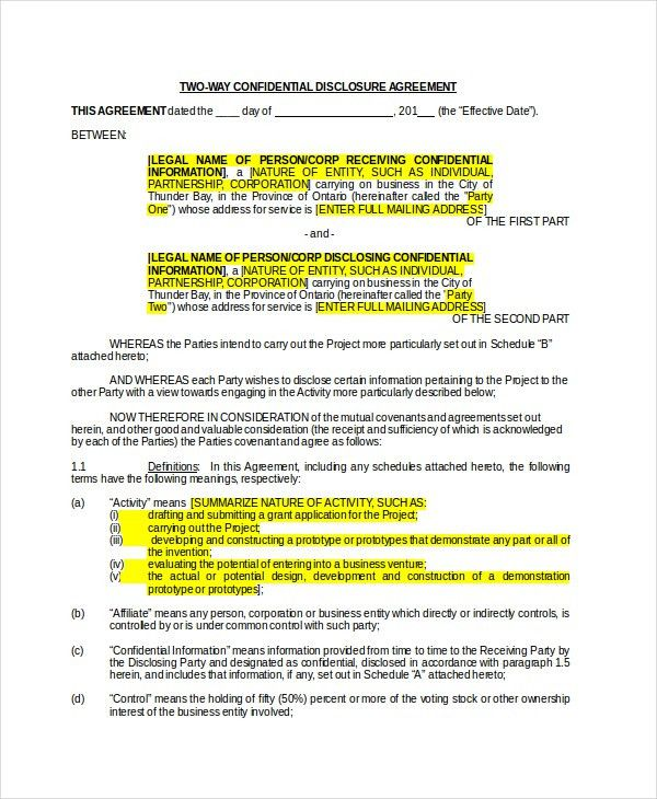 Non Disclosure Agreement - 16+ Free Word, PDF Documents Download ...