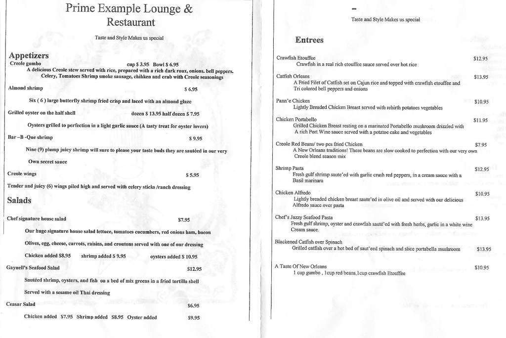 Prime Example Menu, Menu for Prime Example, Seventh Ward, New ...