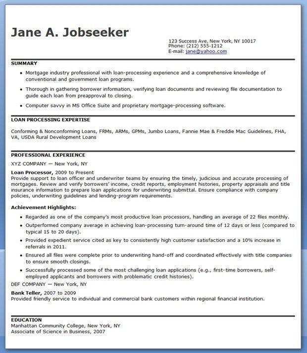 Mortgage Loan Processor Cover Letter | The Letter Sample