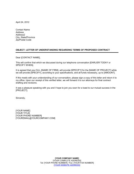 Letter of Understanding Regarding Terms of Proposed Contract ...