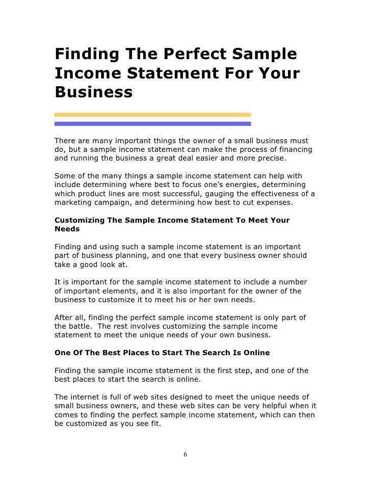 Income Statement Template 1