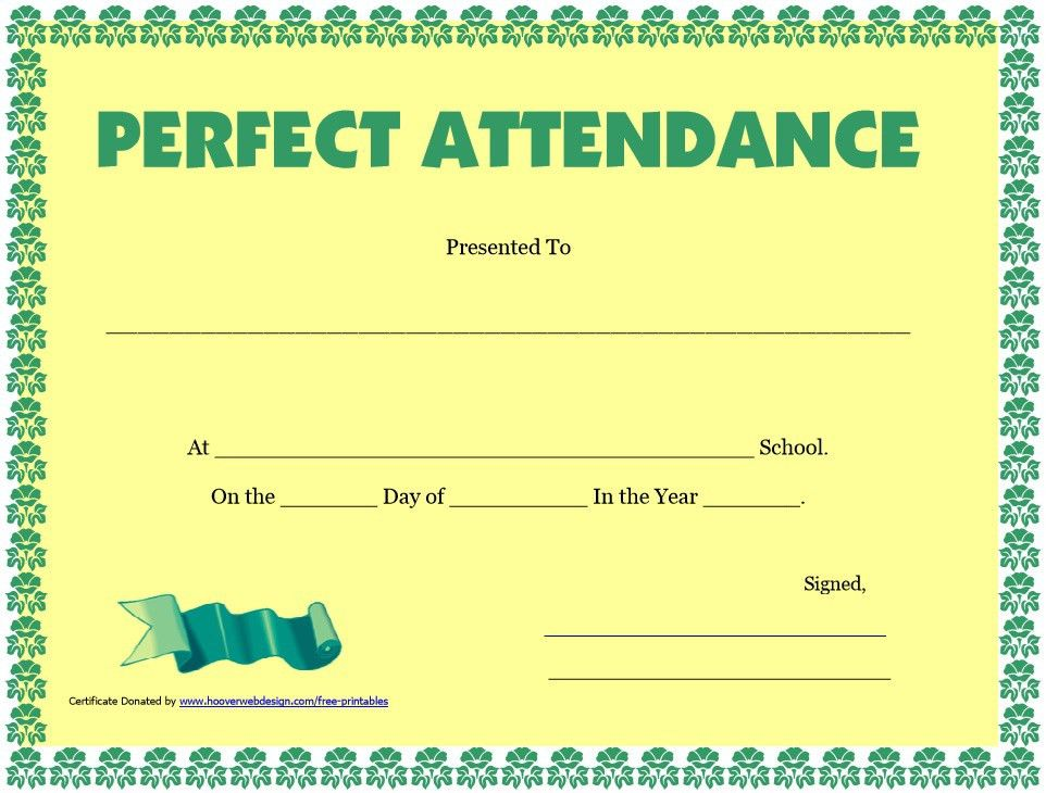 8 Free Sample Perfect Attendance Certificate Templates – Printable ...