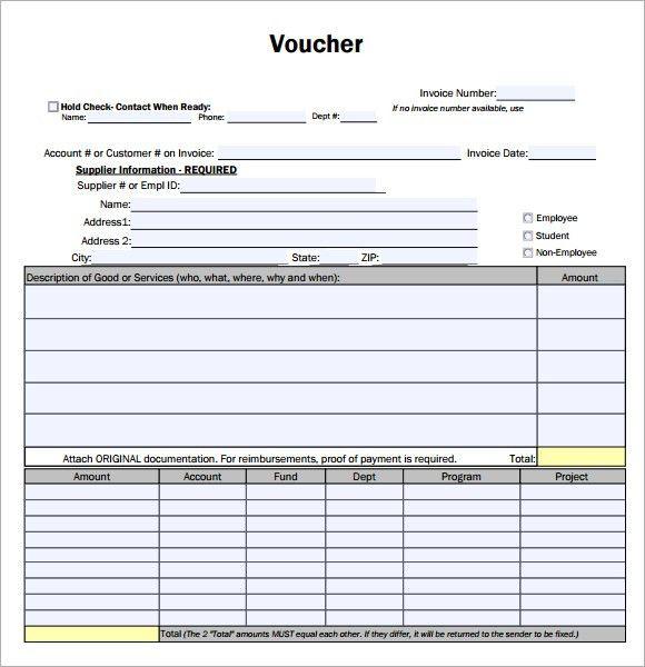 7 Free Payment Voucher Templates - Excel PDF Formats