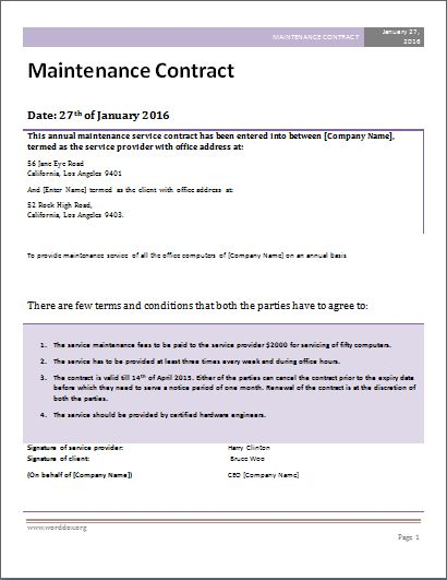 MS Word Maintenance Contract Template | Word Document Templates