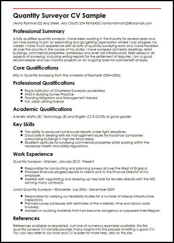Quantity Surveyor CV Sample | MyperfectCV