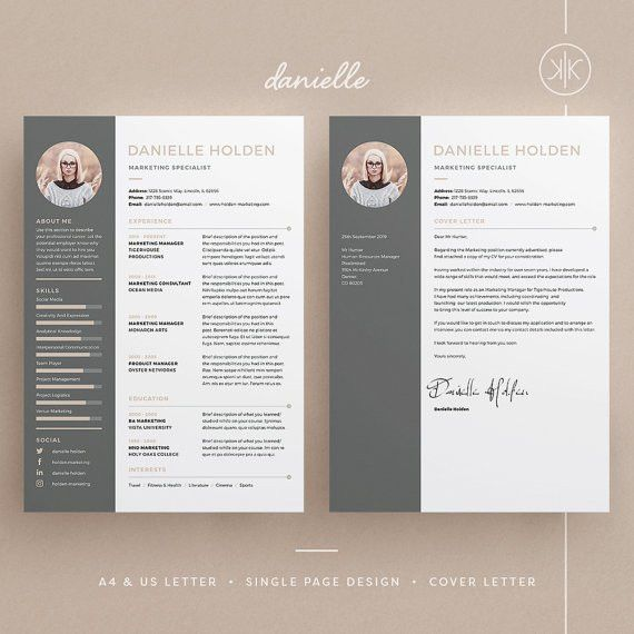Danielle Resume/CV Template | Word | Photoshop | InDesign ...