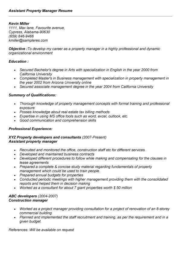 property manager sample resume template examples - Assistant Property Manager Cover Letter