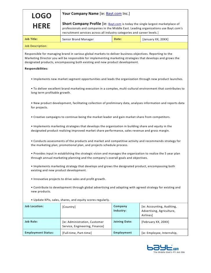 Senior Brand Manager Job Description Template by Bayt.com