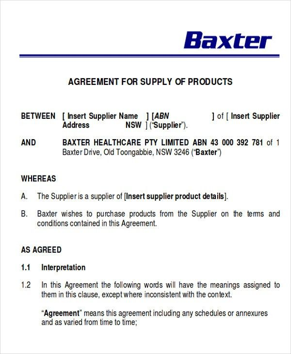 Supply Agreement Contract Sample   9+ Examples In Word, PDF