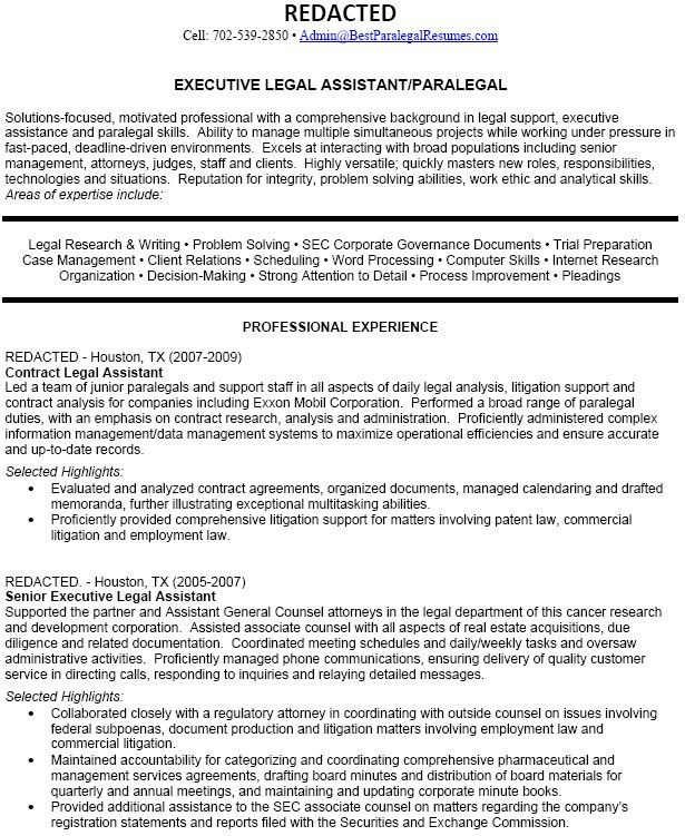 Legal Assistant Resume Sample Resumes Secretary