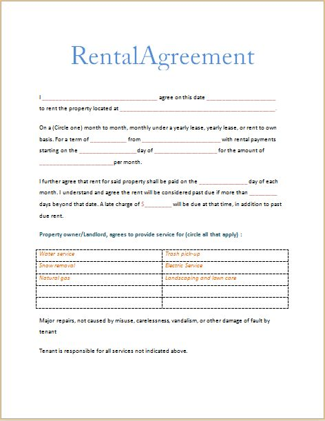 free printable rental agreement template