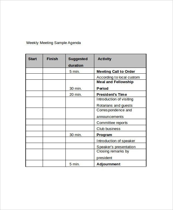 12+ Weekly Meeting Agenda Templates – Free Sample, Example Format ...