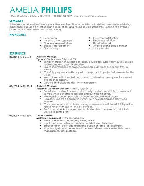 Restaurant Manager Resume Template. Restaurant Manager Sample 42+ ...