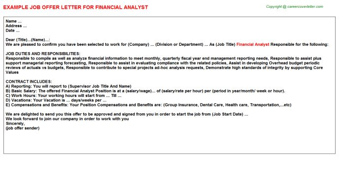 Financial Analyst Offer Letter