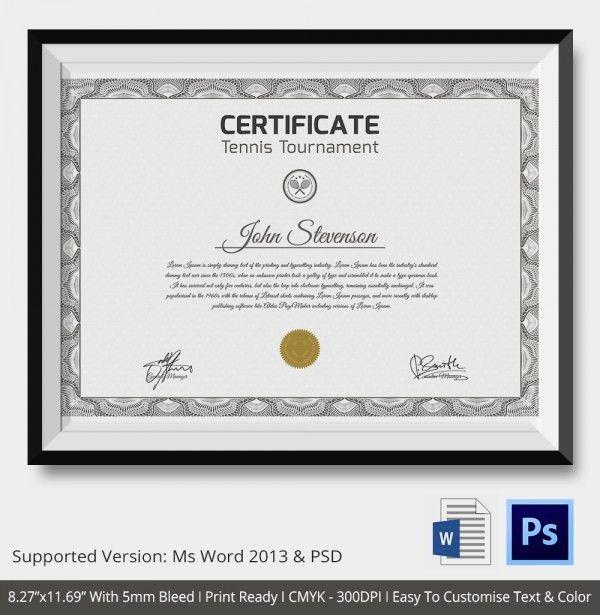 Tennis Certificate - 5+ Word, PSD Format Download | Free & Premium ...