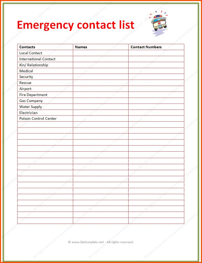 12+ contact list template | Survey Template Words