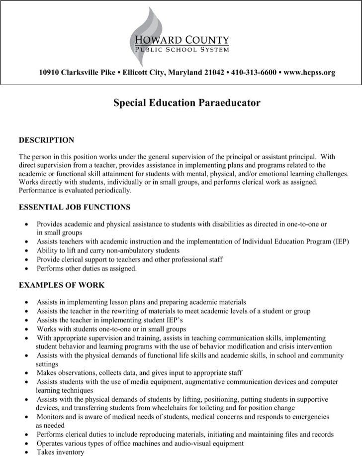 paraeducator resume sample best resume collection - Paraeducator Resume Sample