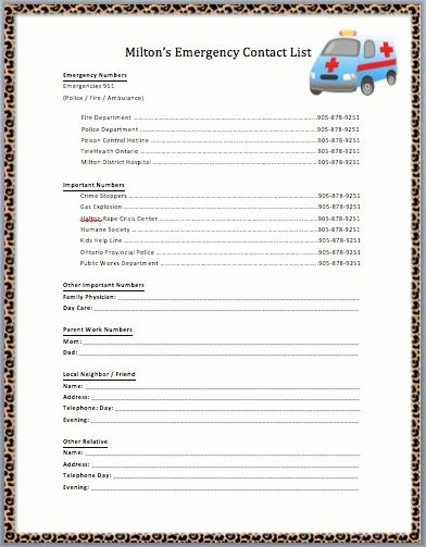 Emergency Call List Template | Printable Templates