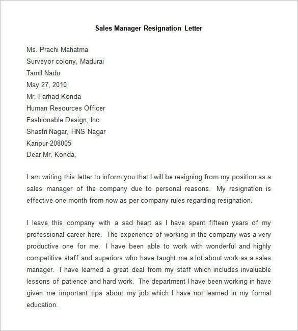Resignation Letter Family Reason. 3 Simple Resignation Letters ...