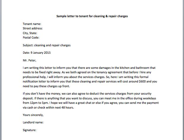Sample Letter to Tenant for Cleaning & Repair Charges – Smart Letters