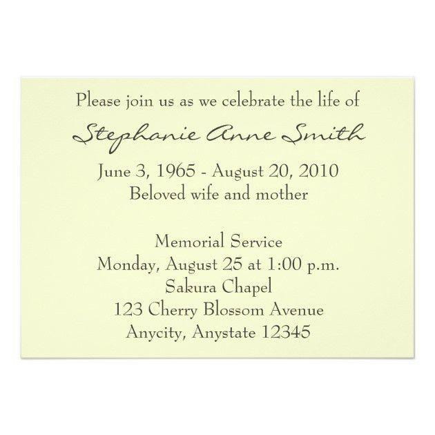 Spring Blossom Memorial Service Funeral Invitation | Zazzle.com