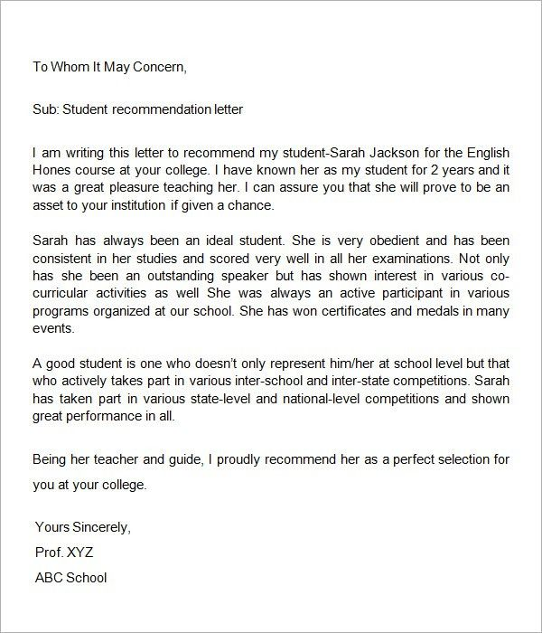 Example Letter Of Recommendation. Teacher Recommendation Letter ...