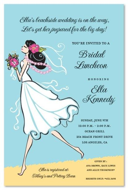Beach Themed Bridal Shower Invitations | almsignatureevents.com