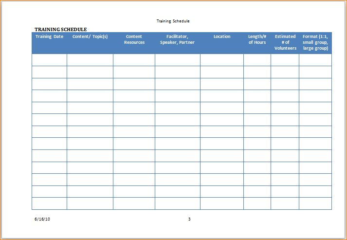 3+ training schedule template | Outline Templates