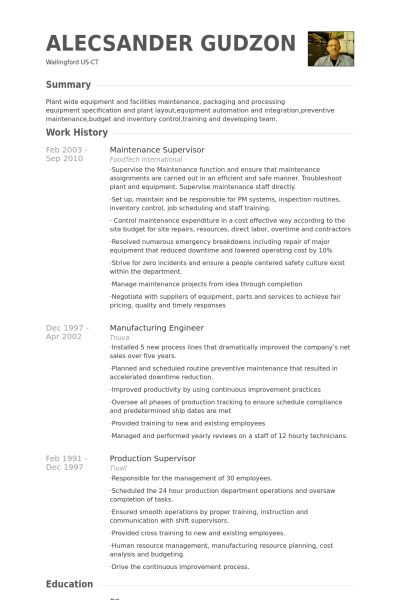 Maintenance Supervisor Resume samples - VisualCV resume samples ...