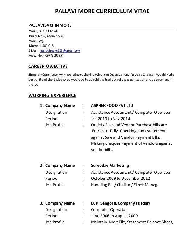 Curriculum Vitae For Computer Operator - Corpedo.com