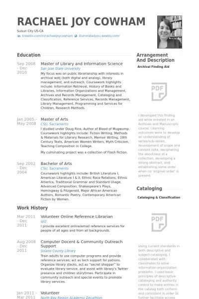 sample academic librarian resume resume for a librarian in an