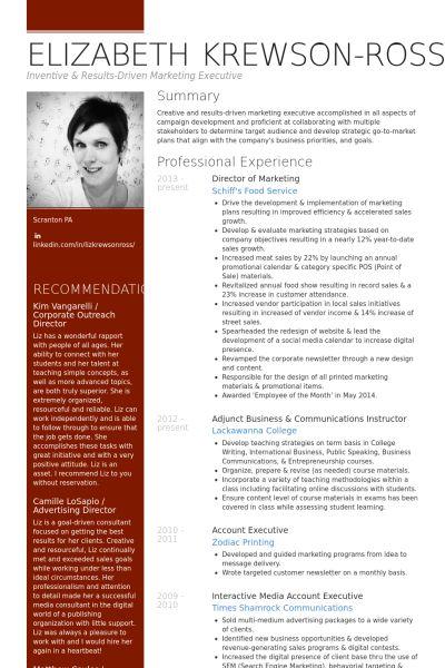 Marketing Resume samples - VisualCV resume samples database