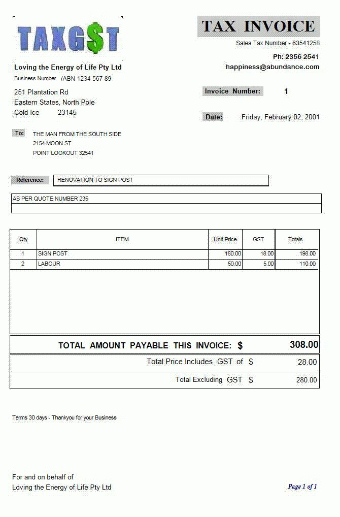 Download Invoice Template Gst Free | rabitah.net