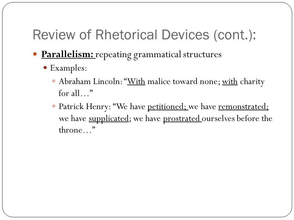 Review of Rhetorical Devices: Rhetorical question: asking a ...