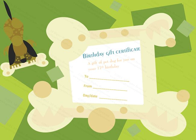 Puppy Pet Gift Certificate Template