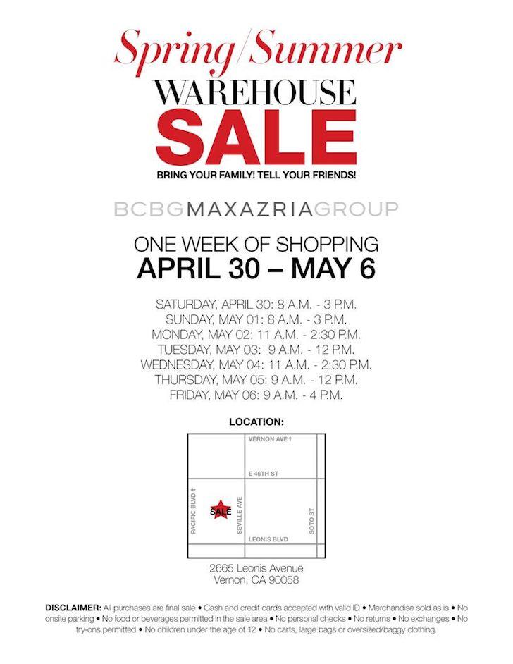 BCBG Warehouse Sale - CA - April 2016   WHSale