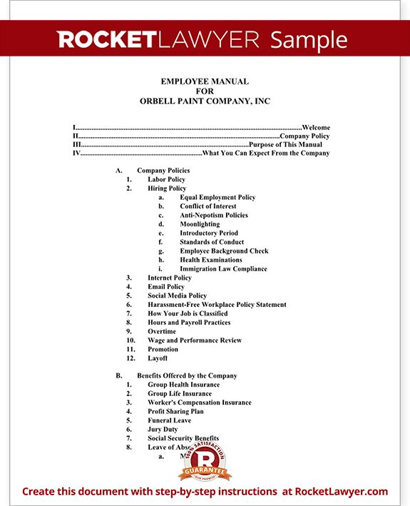 Employee Manual Template Document (with Sample)