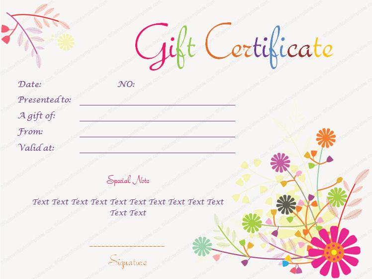 gift certificate log template