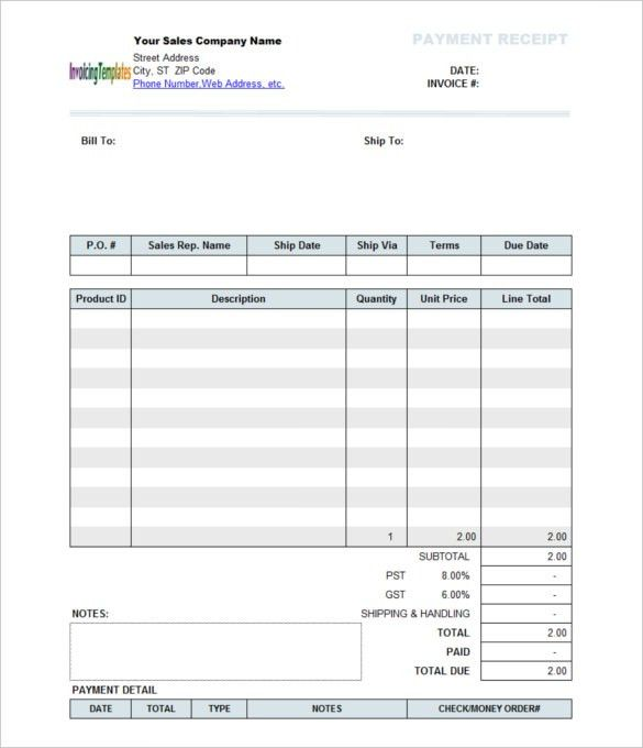 Payment Receipt Formats - Word Excel Samples