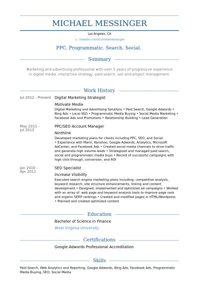 Digital Marketing Strategist Resume samples - VisualCV resume ...