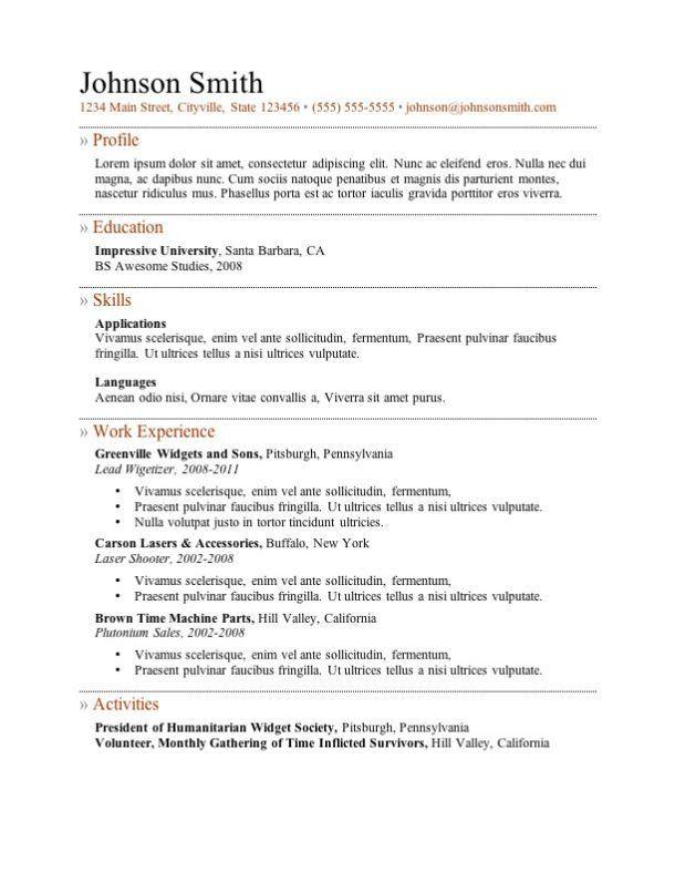 Resume Templates Free Printable