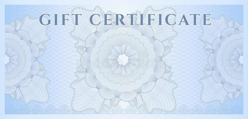 Blue Gift Certificate (Voucher) Template. Pattern Royalty Free ...