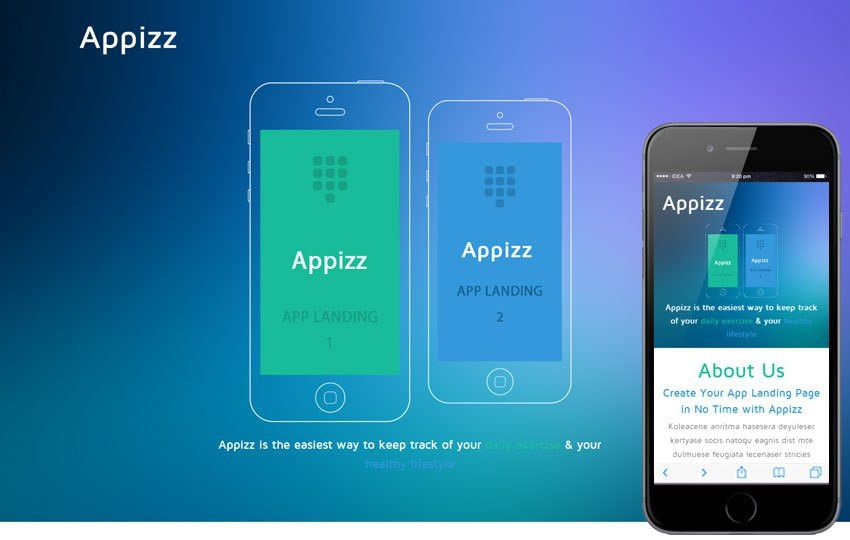 Appizz a Mobile App based Flat Bootstrap Responsive Web Template ...