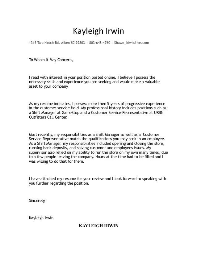 Kayleigh Cover Letter