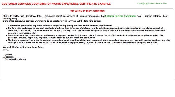 Customer Services Coordinator Work Experience Certificate