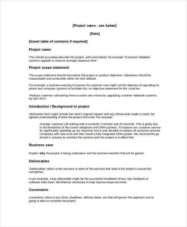 Project Overview Template - 8+ Free Word, Document Downloads ...