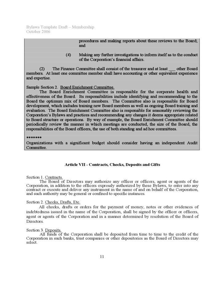 Bylaws Template Sample Free Download