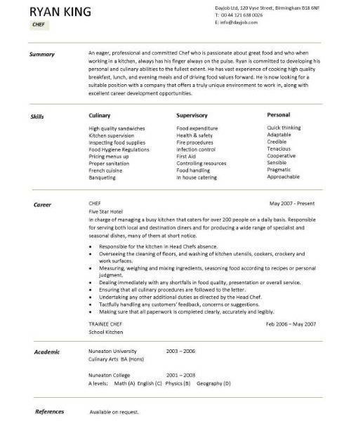 head chef resume head chef resume templates examples job - Chef Resume Templates